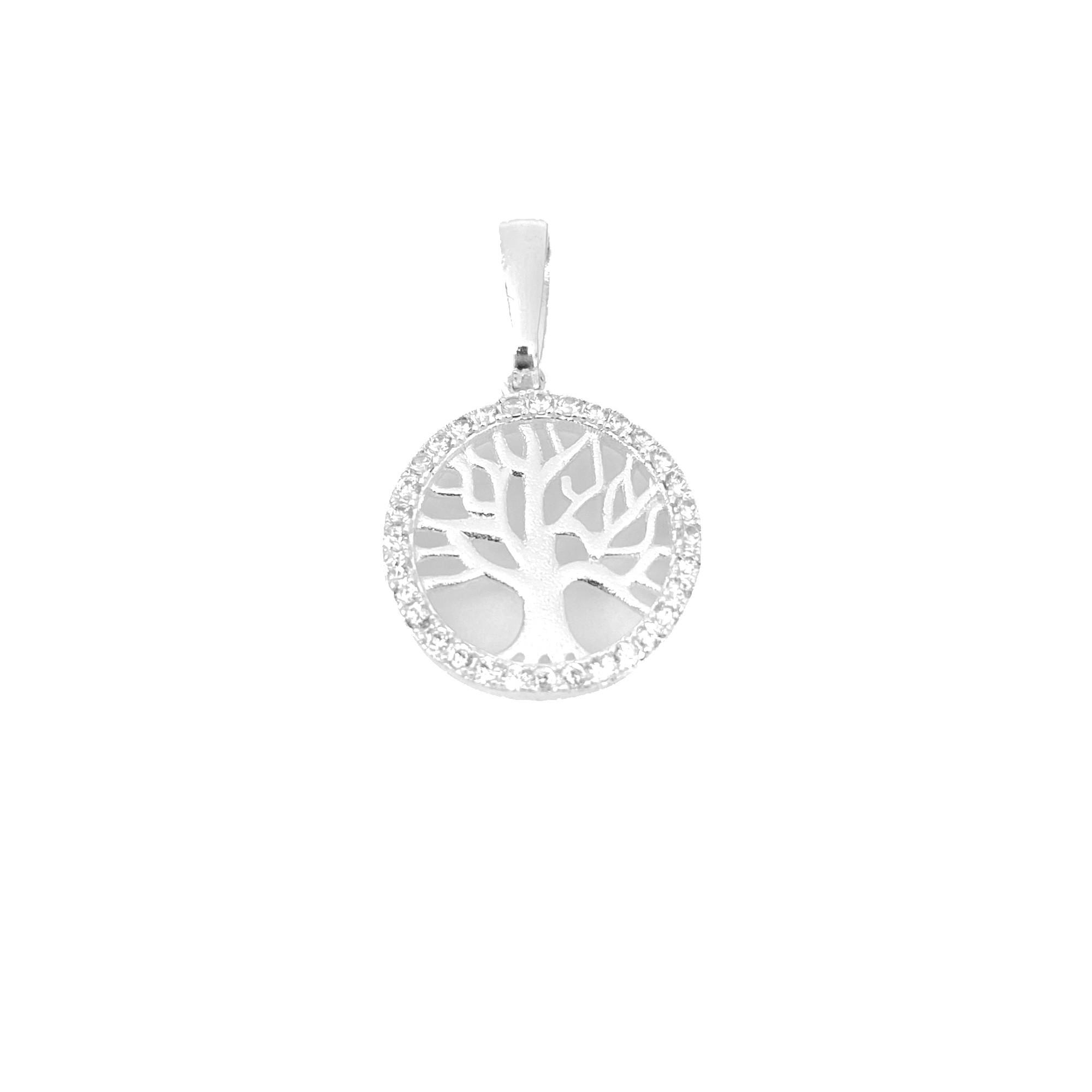 Pingente Árvore Da Vida Vazado Cravejado em Zircônia (1,5cmX1,5cm) (Banho Prata 925)