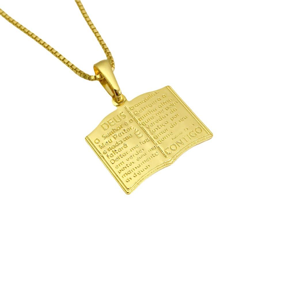 Pingente Bíblia Dupla Face (1,7x2,0cm) (2,5g) (Banho Ouro 24k)