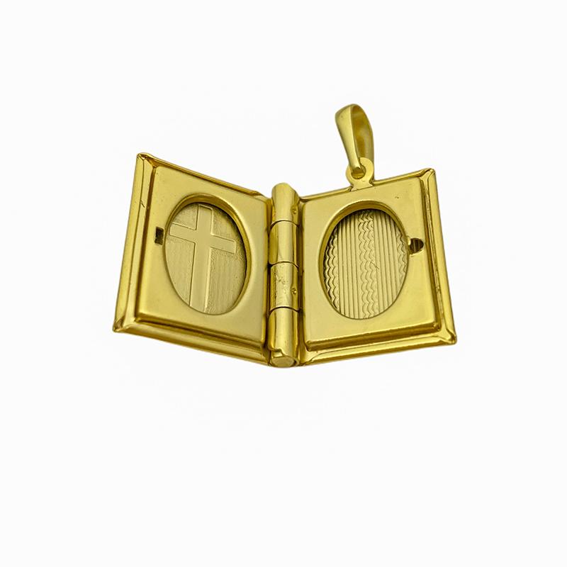 Pingente Biblia Recordações (2,8cmX2,1cm) (Banho Ouro 24k)