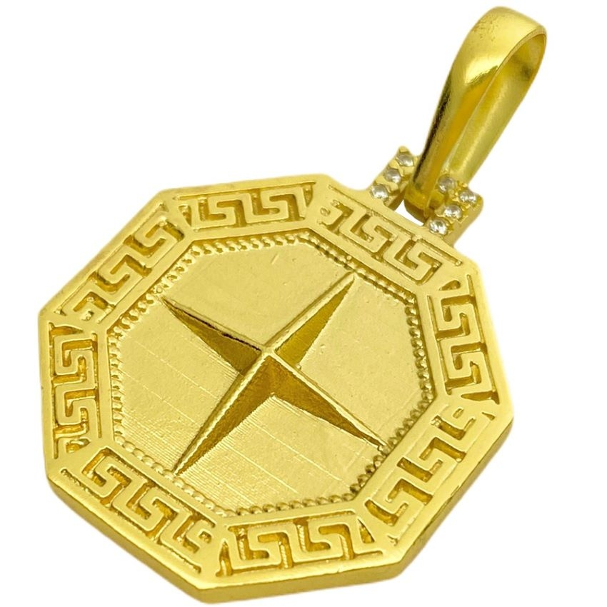 Pingente Bússola Cravejada (2,8cmX2,3cm) (Banho Ouro 24k)