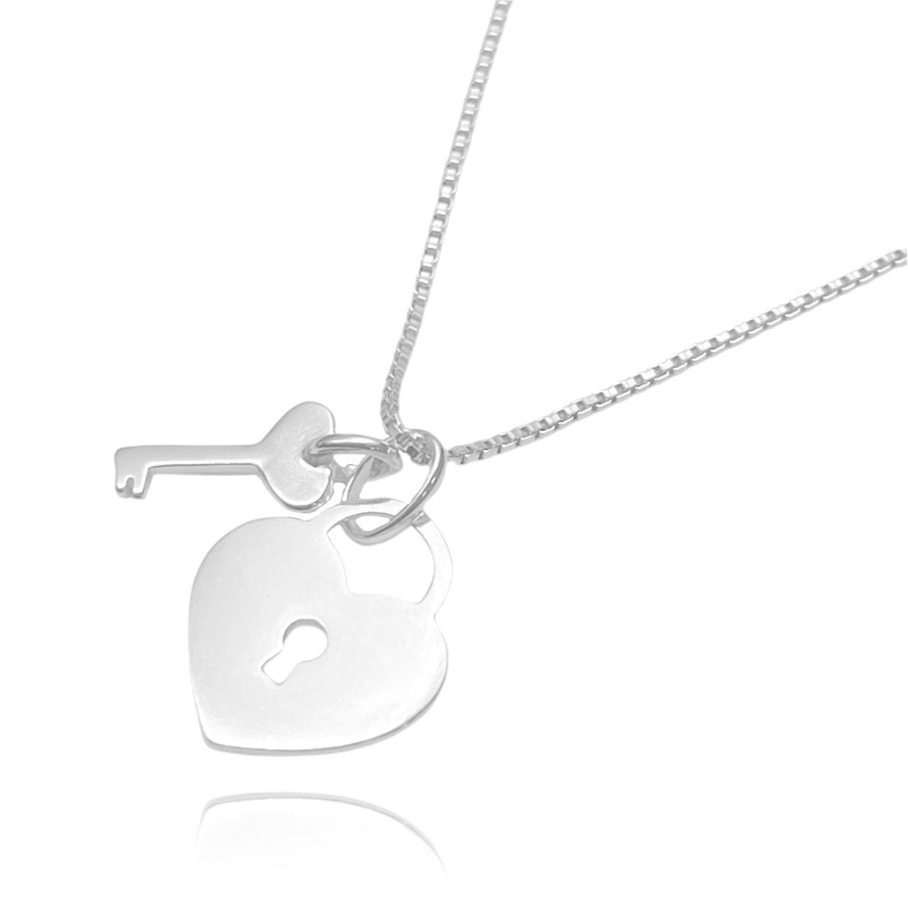 Pingente Cadeado Coração (1,7cmX1,4cm) (Prata 925 Maciça)