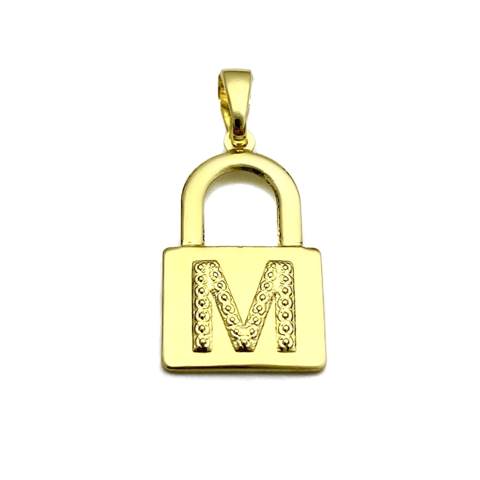 Pingente Cadeado de Letra 2,2cm X 1,1cm (Entre e escolha a sua letra)