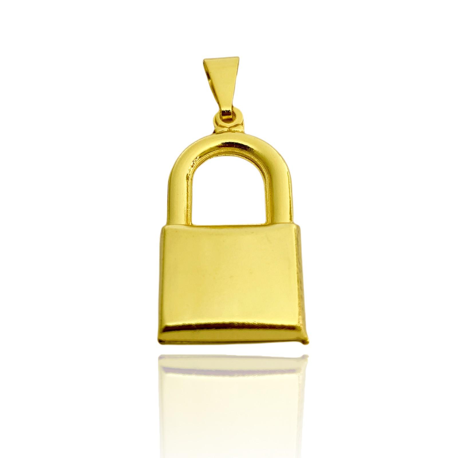 Pingente Cadeado Oco (3cmX1,7cm) (Banho Ouro 24k)
