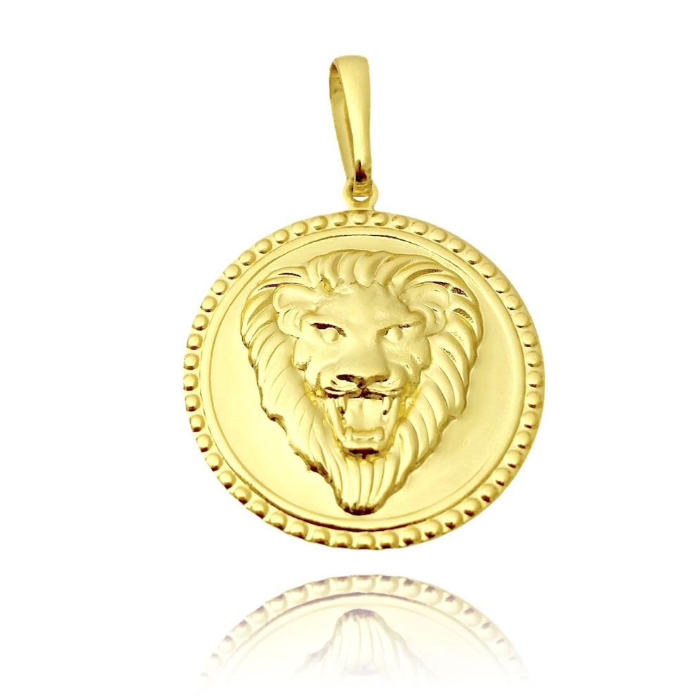 Pingente Cara Leão Relevo (3cmX2,8cm) (Banho Ouro 24k)