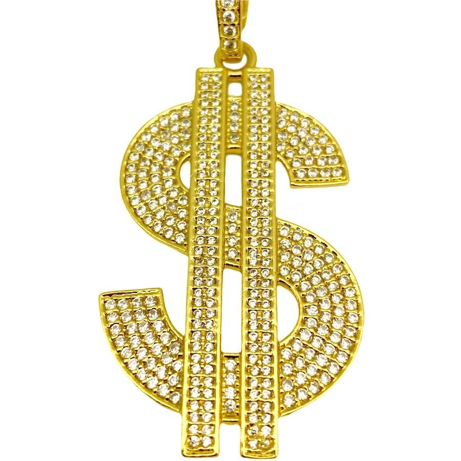 Pingente Cifrão $ Cravejado em Zircônia (Dourado) 4,6cm X 2,9cm 9g