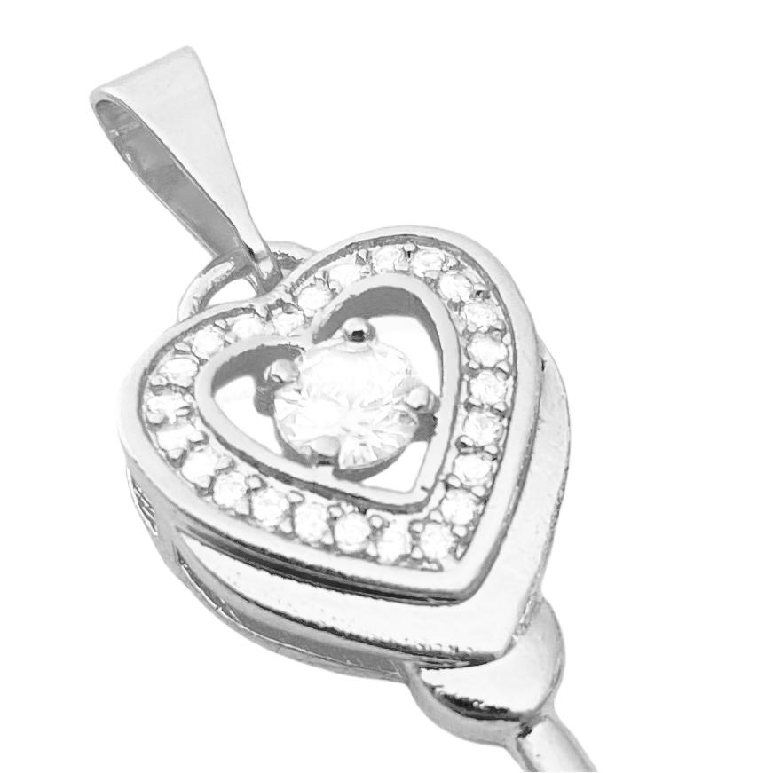 Pingente Coração Chave Cravejado em Zircônia 3,5 x 1,1cm (Banho Prata 925)