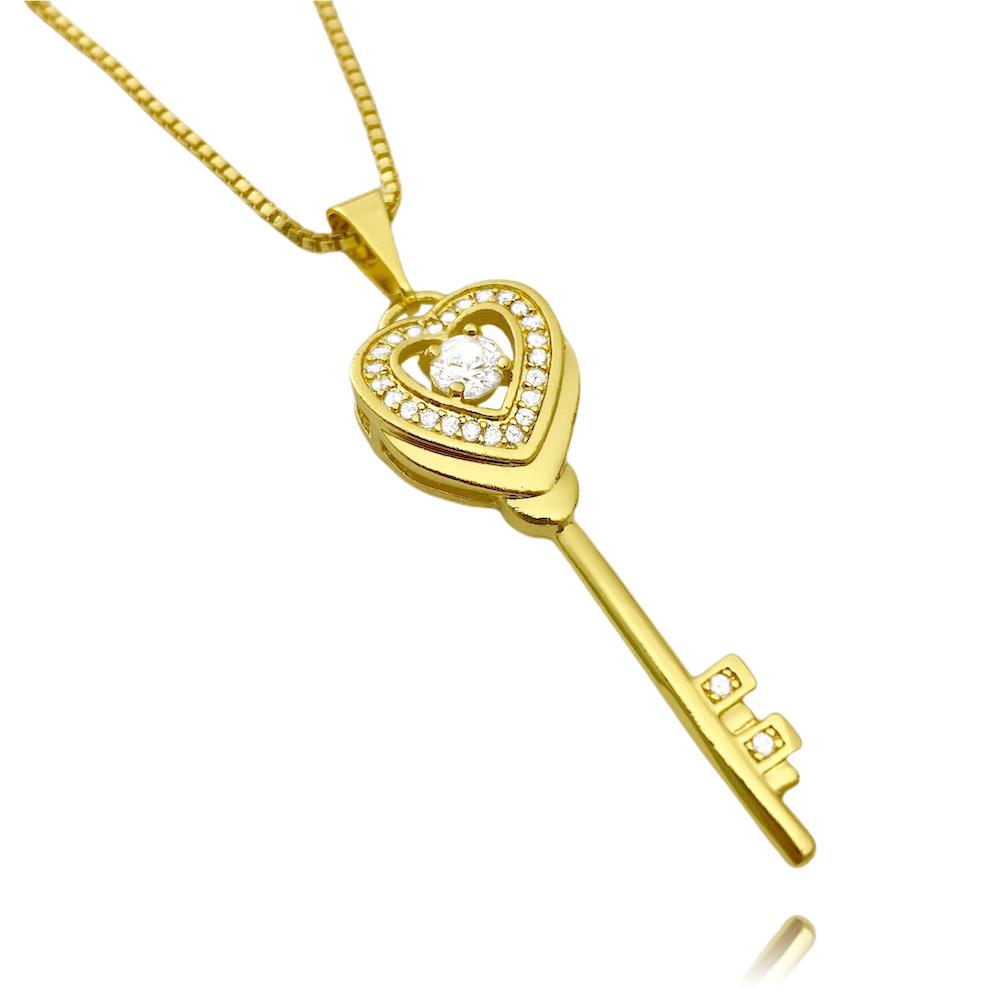 Pingente Coração Chave Cravejado em Zircônia 3,5x1,1cm (Banho Ouro 24k)