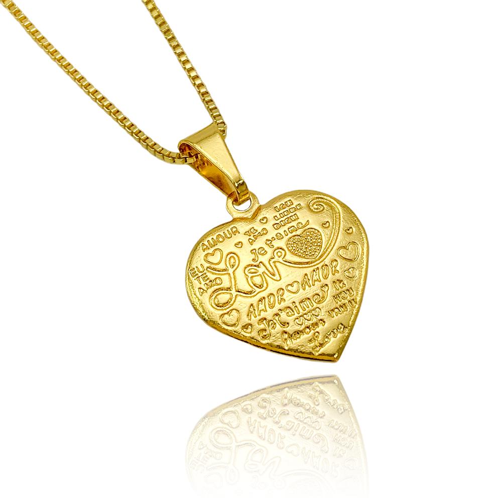 """Pingente Coração """"Love"""" (2,1cmX2,3cm) (Banho Ouro 24k)"""