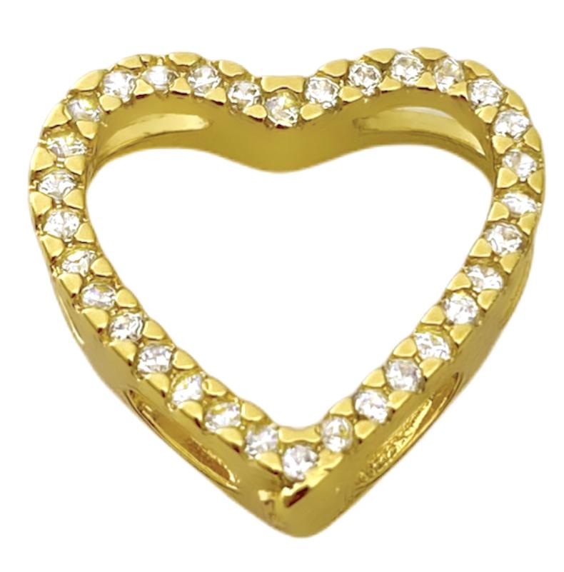 Pingente Coração Vazado 1,5x1,5cm (1,5g) (Banho Ouro 24k)