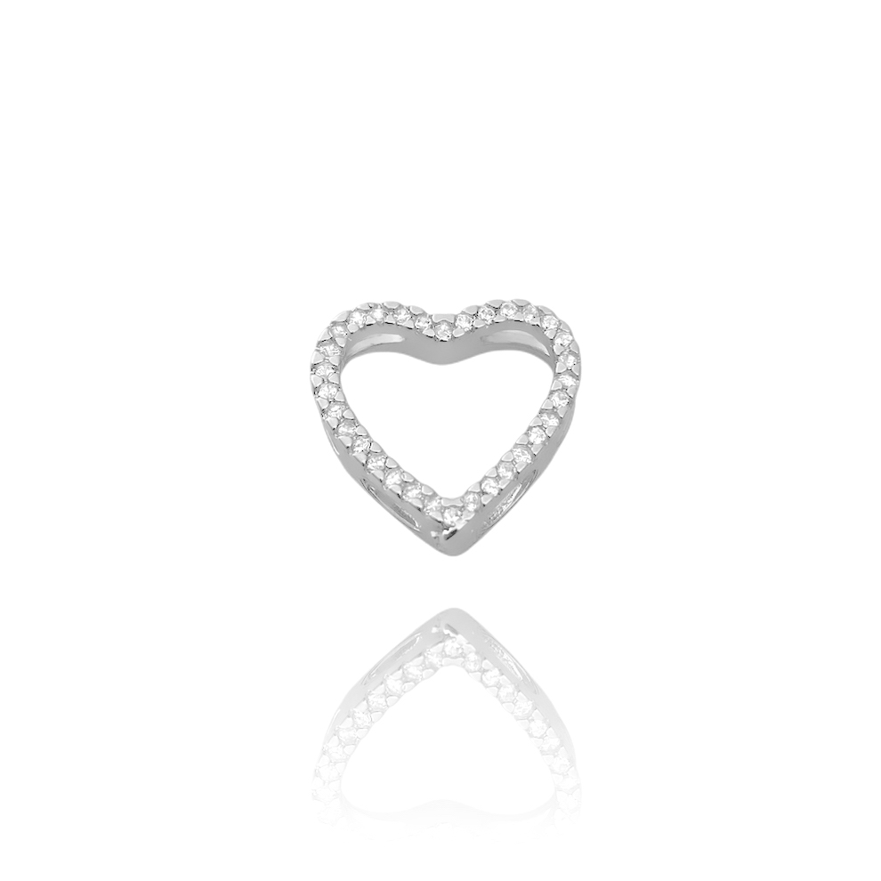 Pingente Coração Vazado 1,5x1,5cm (1,5g) (Banho Prata 925)