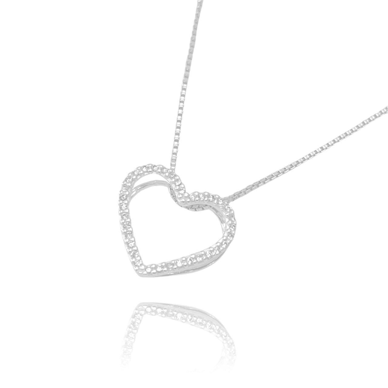 Pingente Coração Vazado Cravejado em Zircônia (1,8cmX1,8cm) (Prata 925 Maciça)