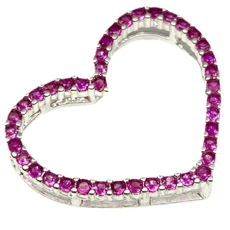 Pingente Coração Vazado Cravejado em Zircônia Rosa (1,8cmX2,1cm) (Banho Prata 925)