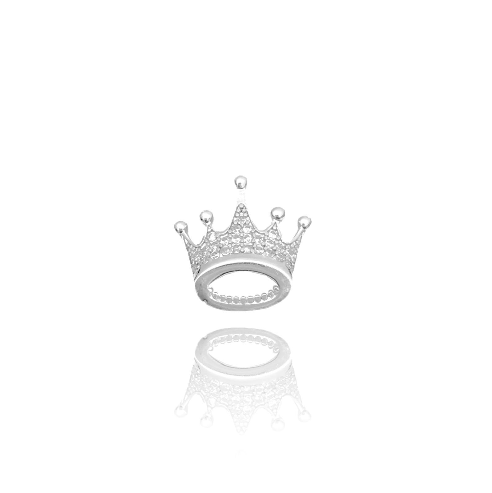 Pingente Coroa Cravejado em Zircônia (Banho Prata 925)
