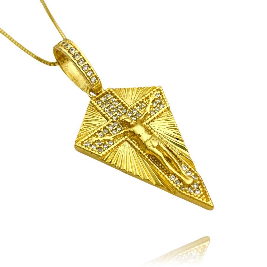 Pingente Cristo Cravejado (4,5cmX2,9cm) (9,2g) (Banho Ouro 24k)