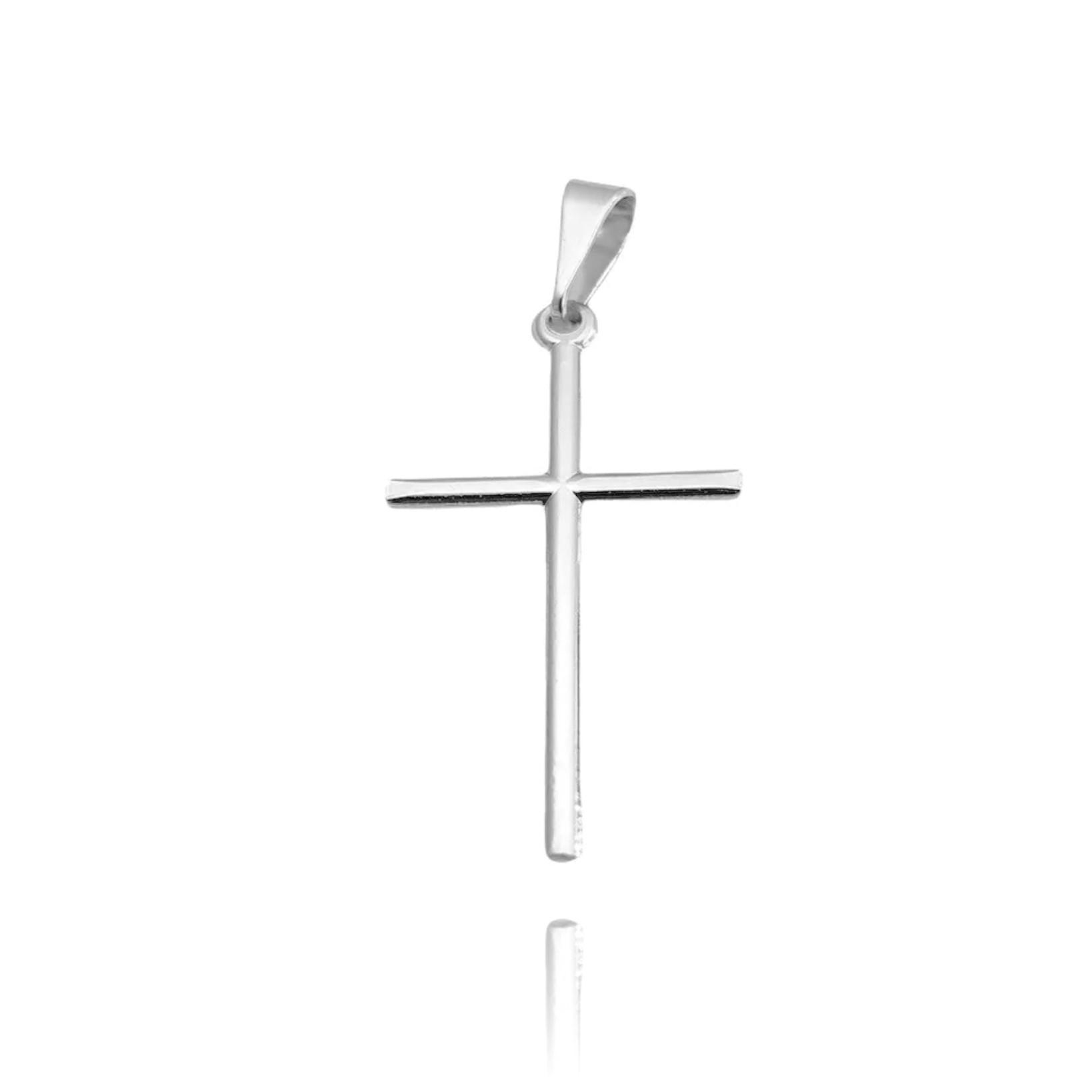 Pingente Crucifixo Agulha (2,9cmX1,9cm) (Banho Prata 925)