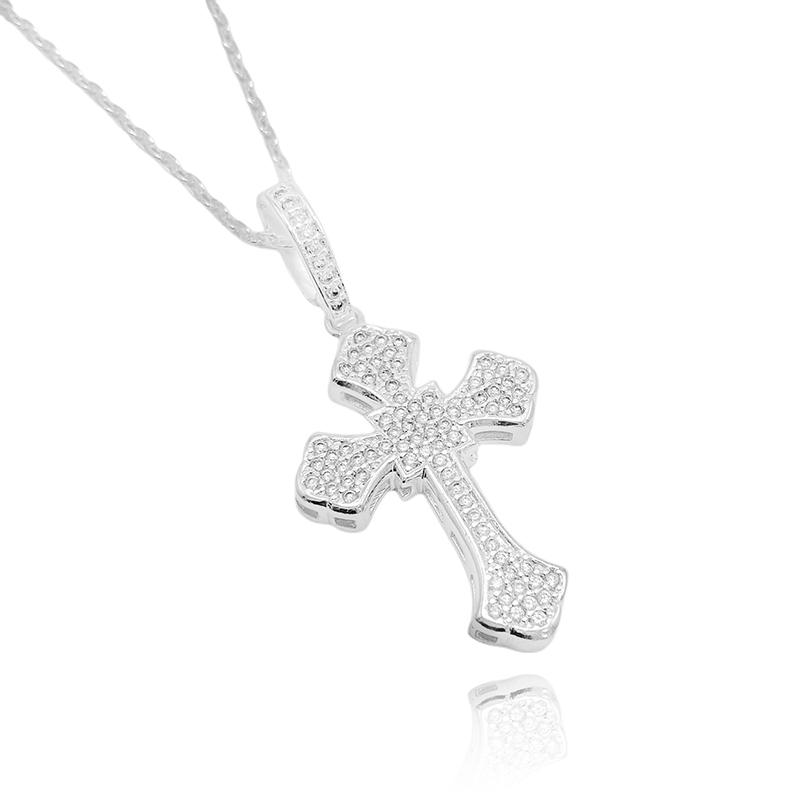 Pingente Crucifixo Catedral Cravejado em Zircônia (4,4cmX3cm) (10,2g) (Banho Prata 925)