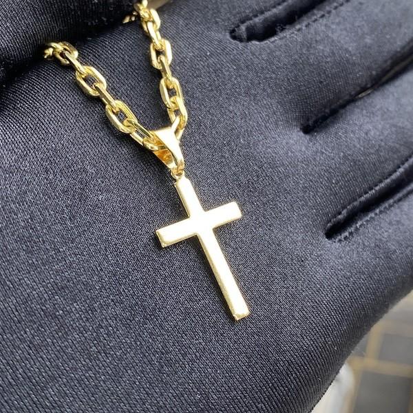 Pingente Crucifixo Chapado (2,8cmX1,6cm) (Banho Ouro 24K)