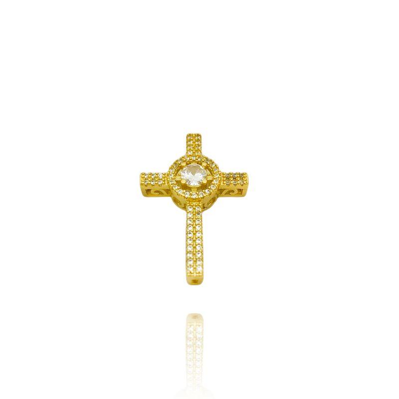 Pingente Crucifixo Cravejado com Pedra Central em Zircônia (2,6cmX1,8cm) (Banho Ouro 24k)