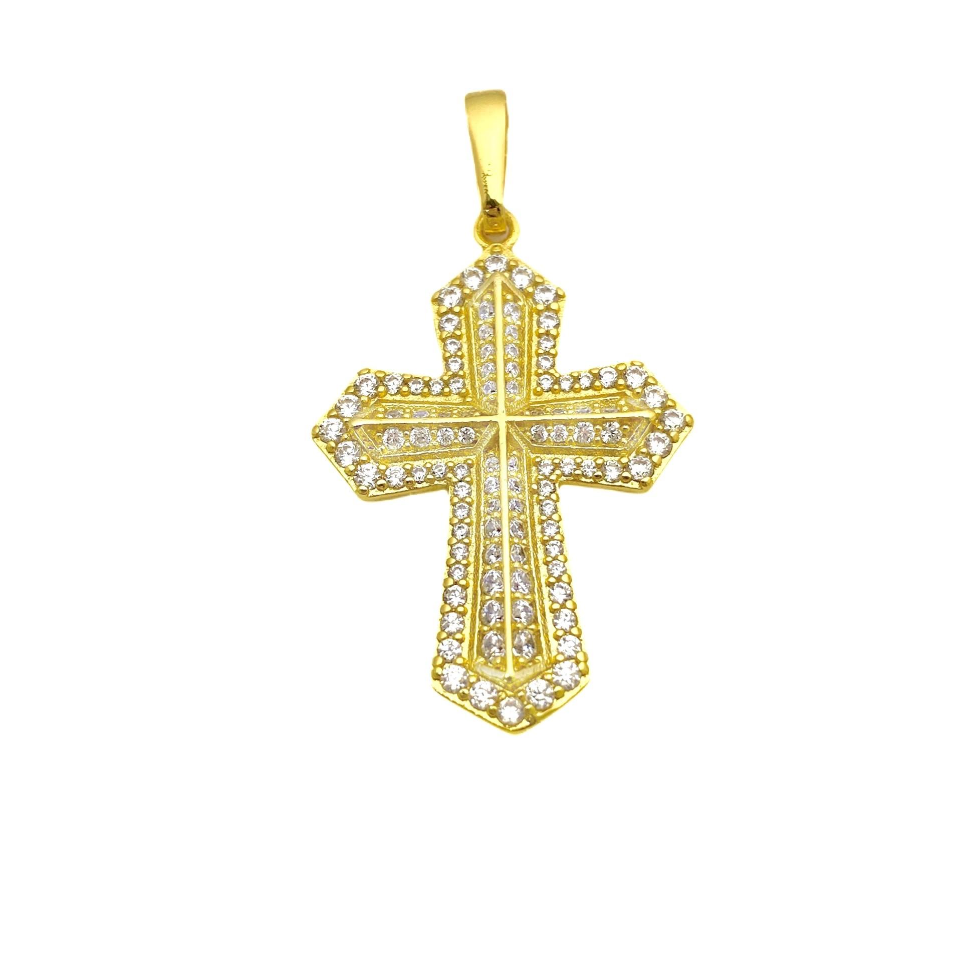Pingente Crucifixo Cravejado em Zircônia 3,1cm X 2,1cm