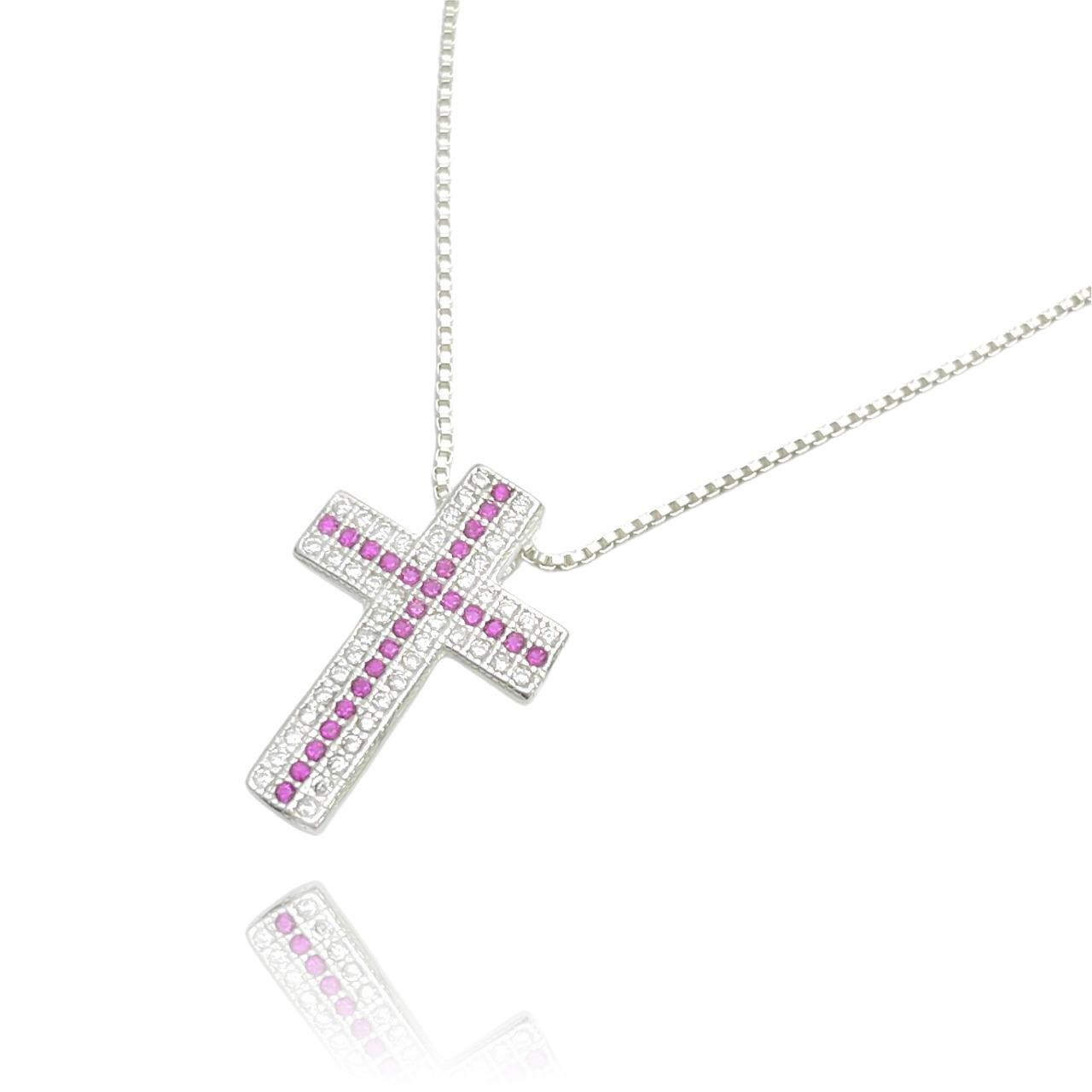 Pingente Crucifixo Cravejado em Zircônia Rosa (2,2cmX1,6cm) (Prata 925 Maciça)