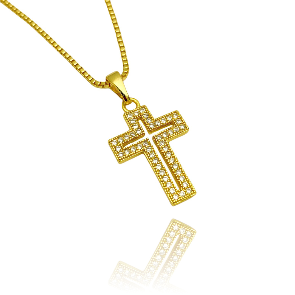 Pingente Crucifixo Cravejado Vazado pedras De Zircônia 2,1cm X 1,4cm (Banho Ouro 24k)
