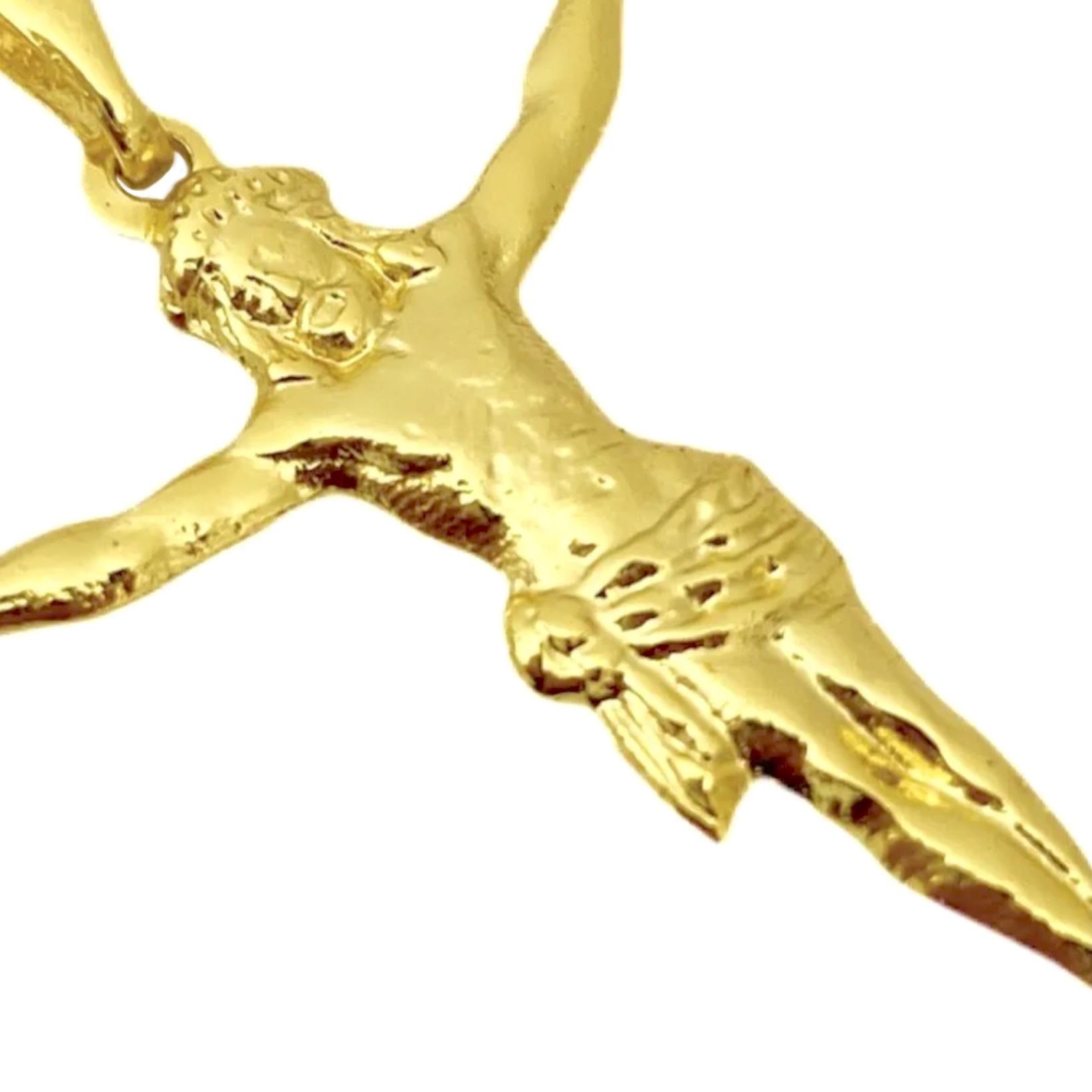 Pingente Crucifixo Cristo 3D (3,2cmX2,8cm) (Banho Ouro 24k)