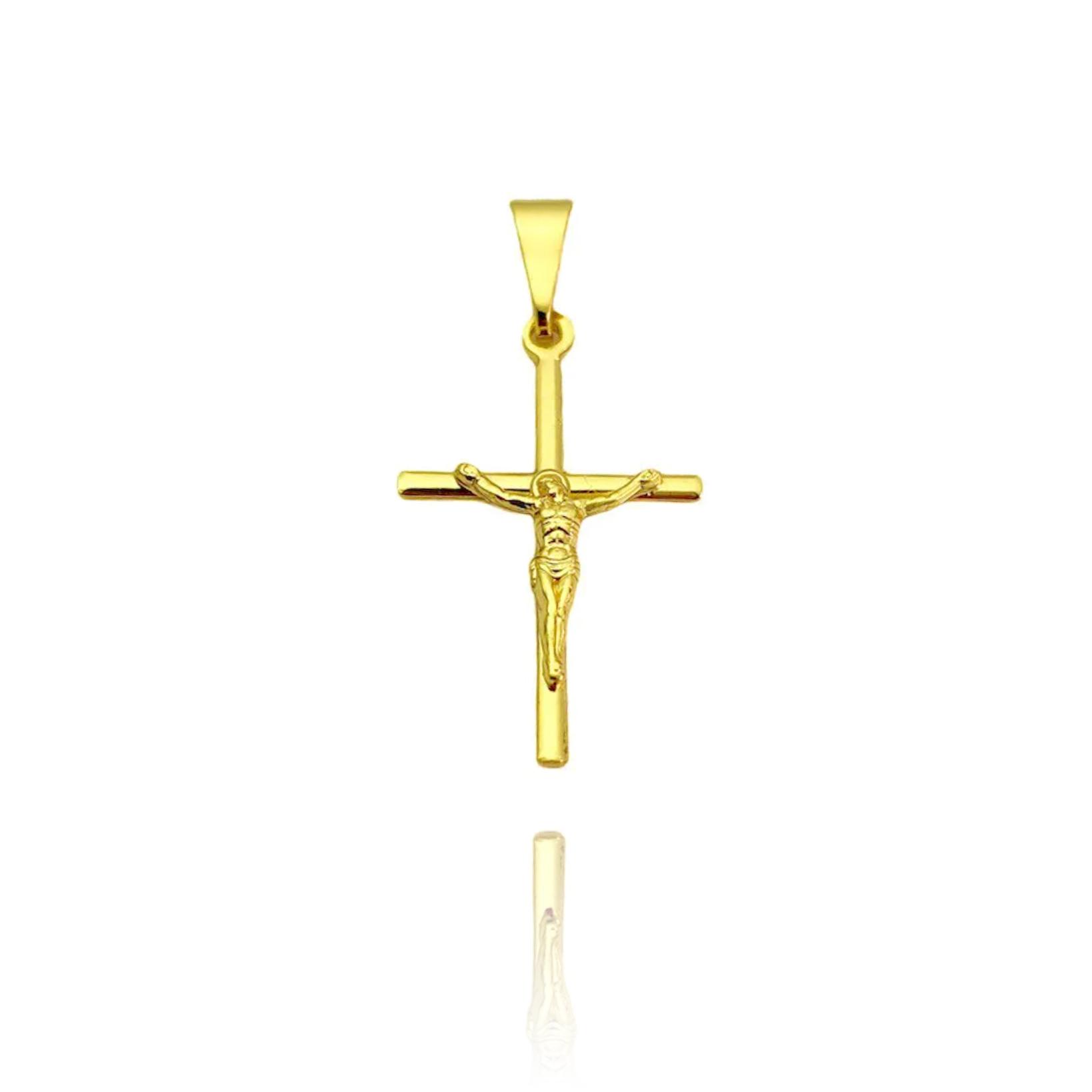 Pingente Crucifixo Cristo Relevo (2,5cmX1,6cm) (Banho Ouro 24k)