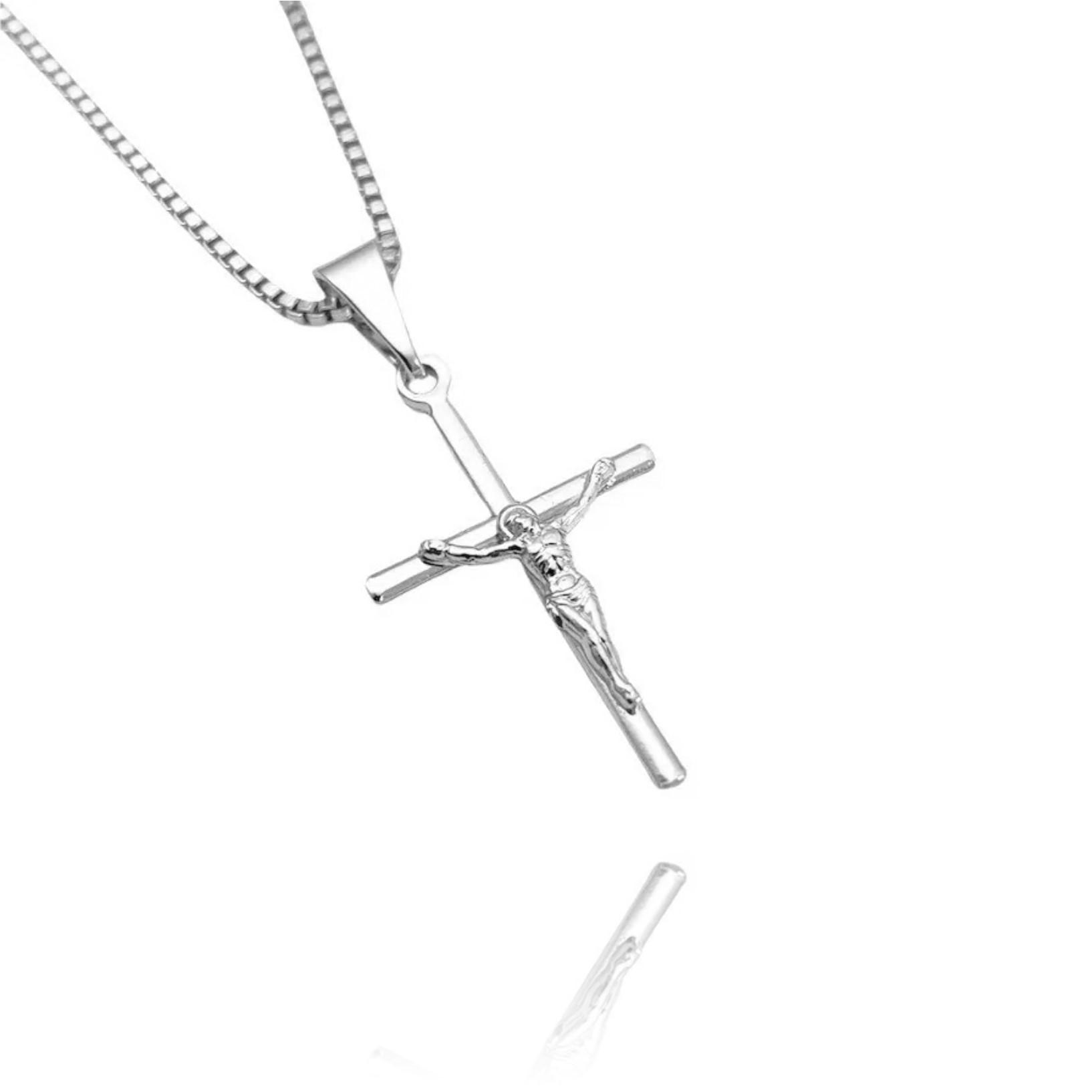 Pingente Crucifixo Cristo Relevo (2,5cmX1,6cm) (Banho Prata 925)