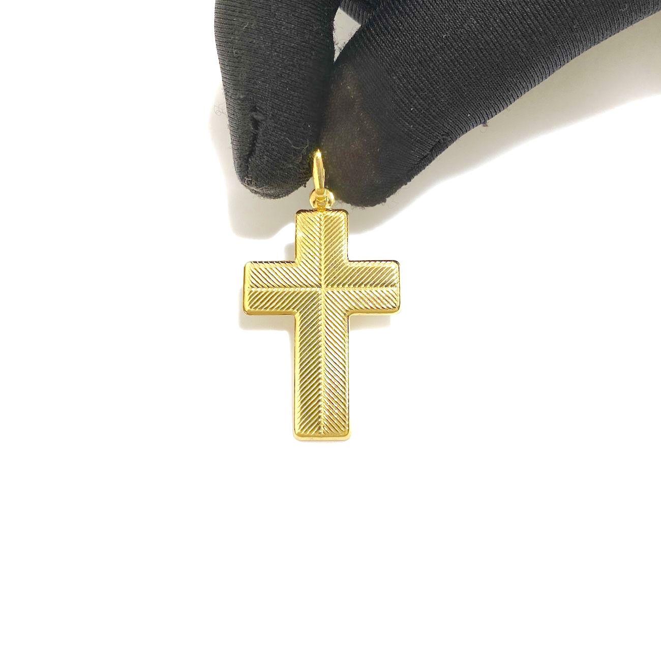 Pingente Crucifixo Duas Texturas (3cmX2cm) (Banho Ouro 24k)