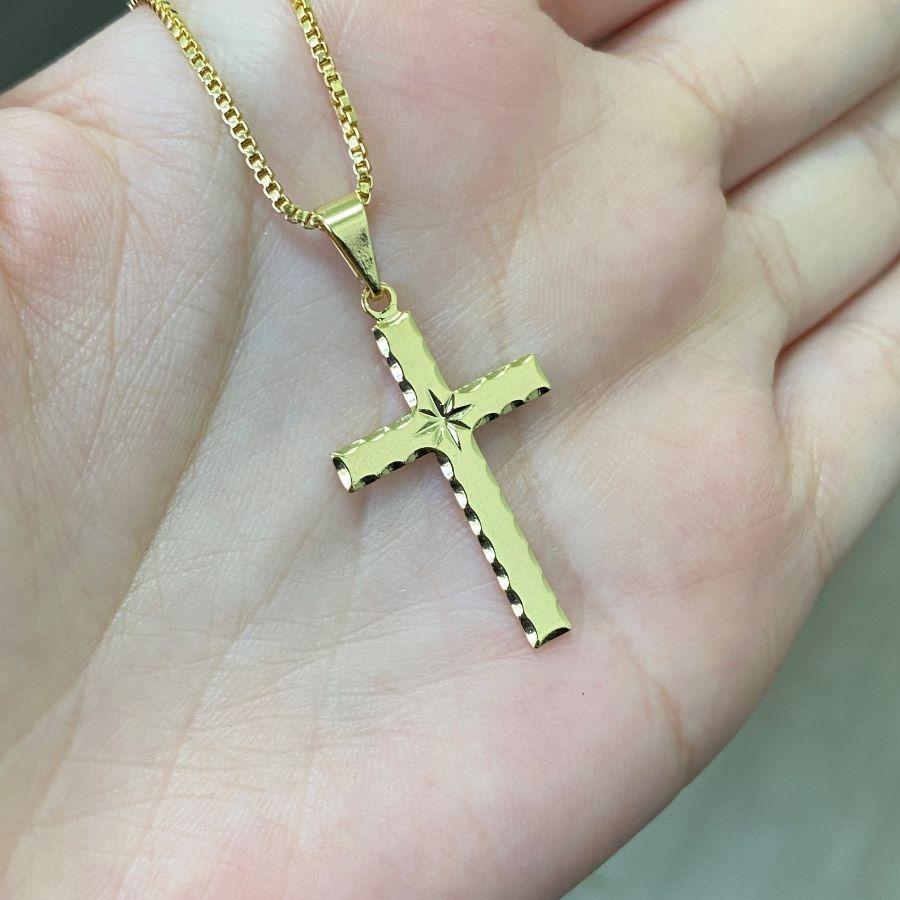 Pingente Crucifixo Estrela Lakshmi (2,8cm X 1,6cm) (Banho Ouro 24K)