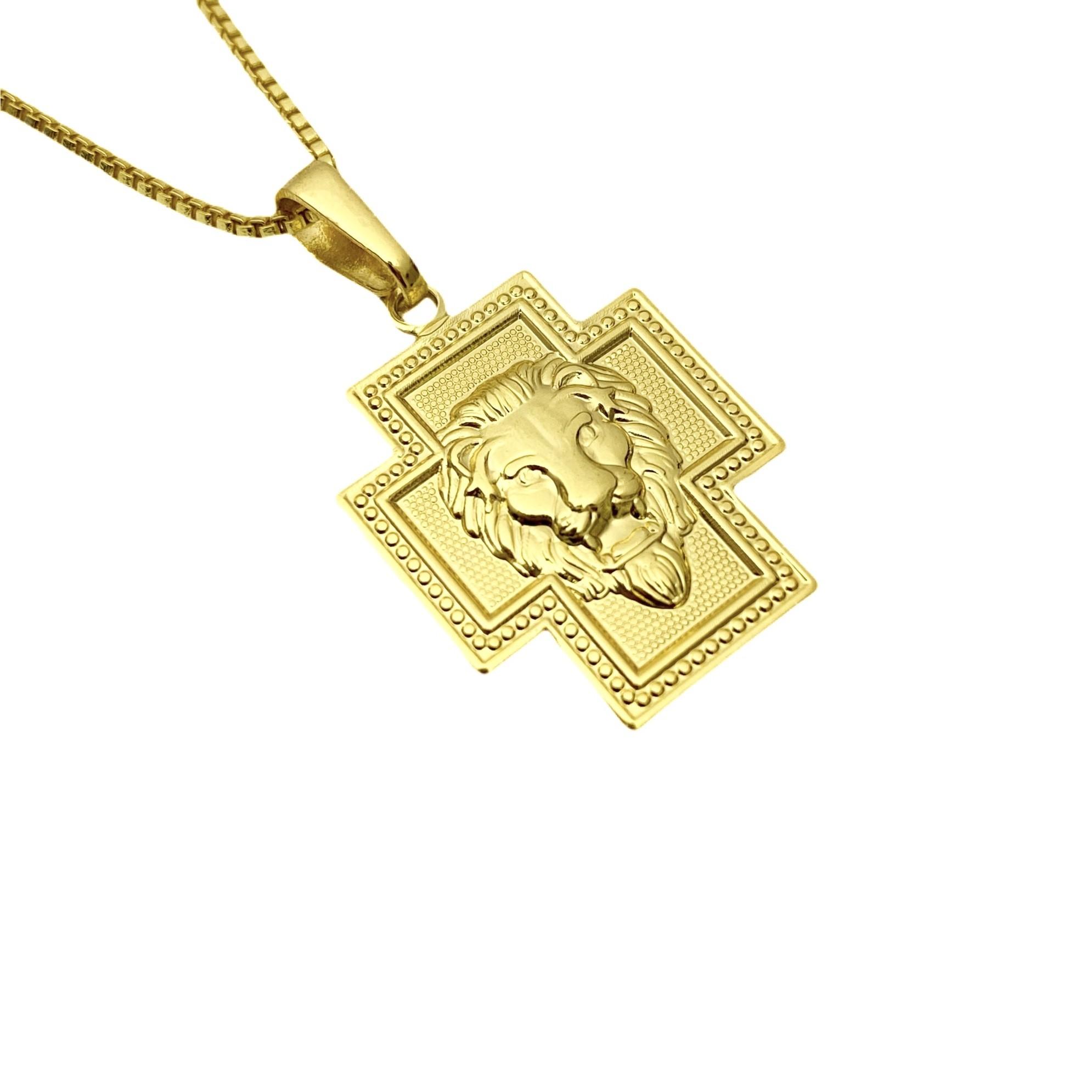 Pingente Crucifixo Face Leão 1,8cm X 2,3cm