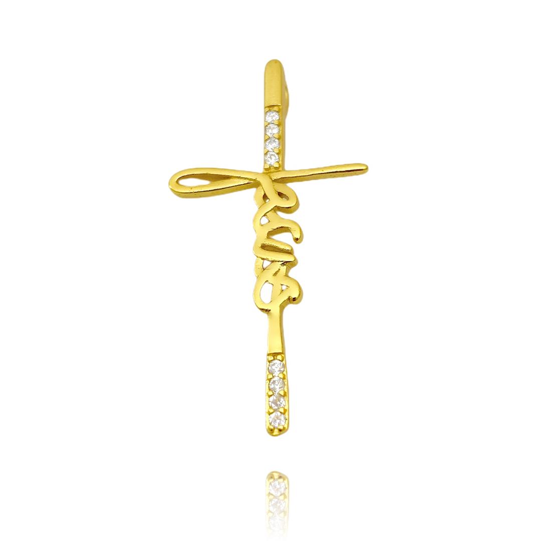 Pingente Crucifixo Jesus Cravejado em Zircônia (3,9x2,0cm) (Banho Ouro 24k)
