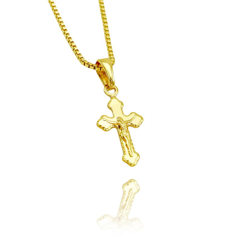 Pingente Crucifixo Jesus Medio (2cmX1,2cm) (Banho Ouro 24k)