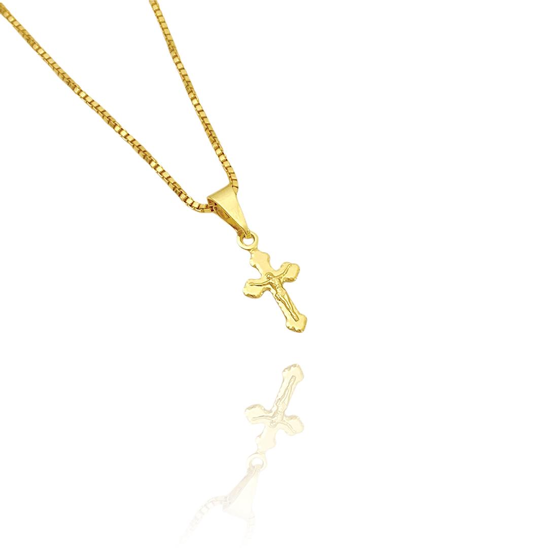 Pingente Crucifixo Jesus Mini (1,7cmX1cm) (Banho Ouro 24k)