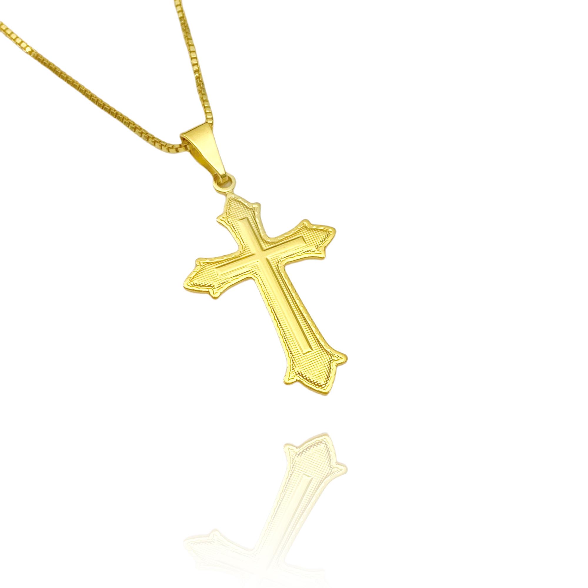 Pingente Crucifixo Médio (3,3cmX2cm) (Banho Ouro 24k)