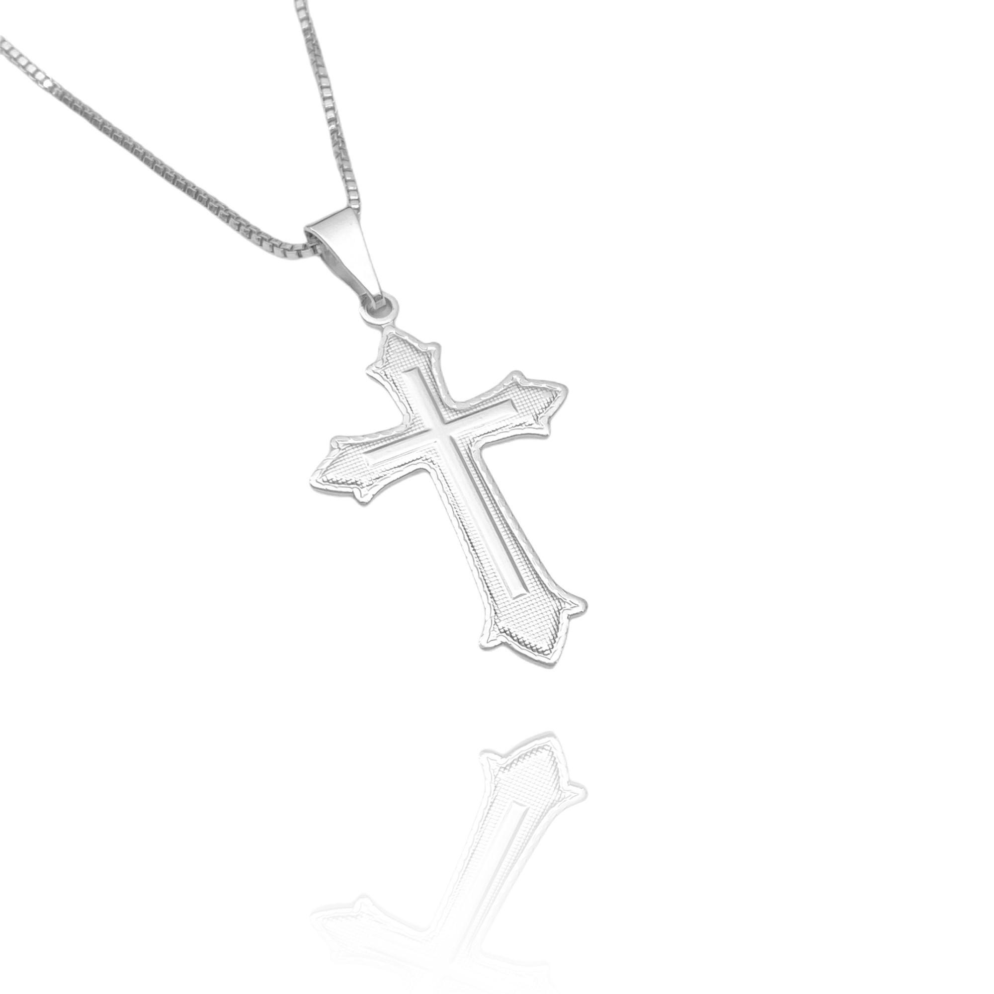 Pingente Crucifixo Médio (3,3cmX2cm) (Banho Prata 925)