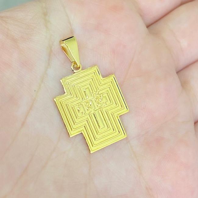 Pingente Crucifixo Placa ''Fé'' (2,5cmX2cm) (Banho Ouro 24k)