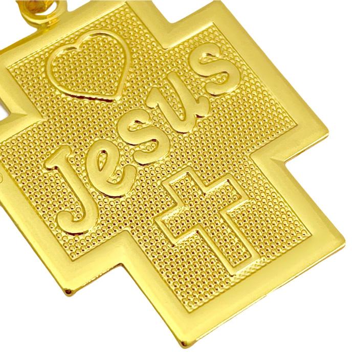 Pingente Crucifixo Placa ''Jesus'' (2cmX1,8cm) (2,5g) (Banho Ouro 24k)
