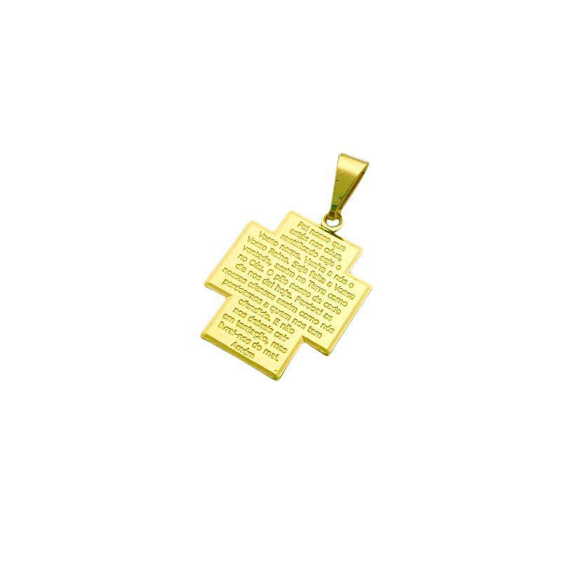 Pingente Crucifixo Placa Oração ''Pai Nosso'' (Banho Ouro 24k)