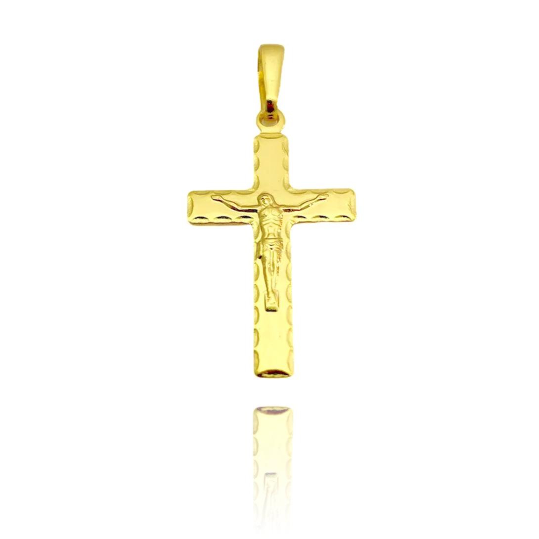 Pingente Crucifixo Textura 2,8cm X 1,7cm (Banho Ouro 24k)