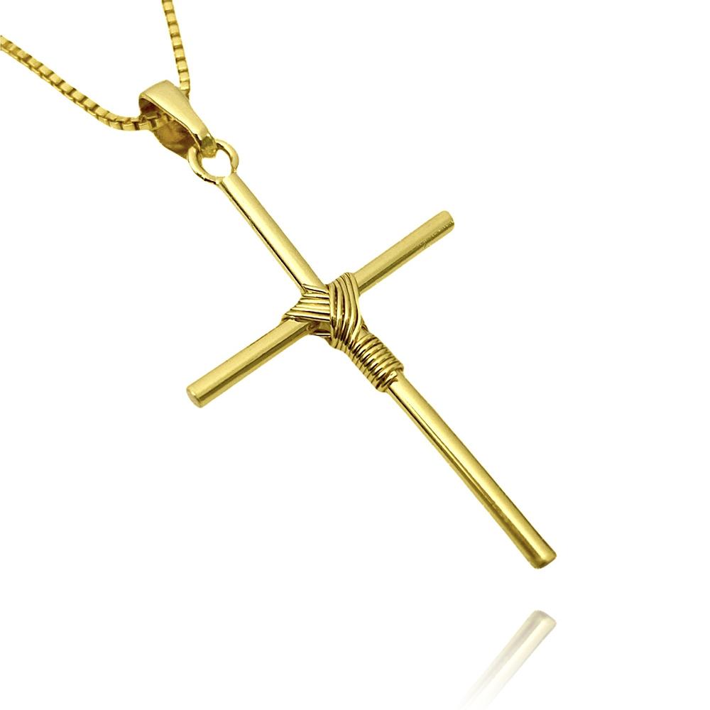 Pingente Crucifixo Trançado 1 Mini (3cmX1,8cm) (Banho Ouro 24k)