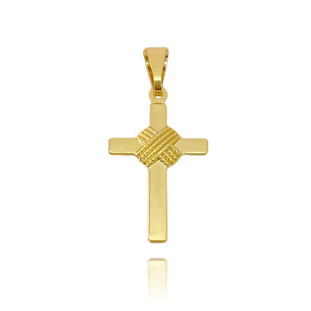 Pingente Crucifixo Trançado (2,8cmX1,6cm) (Banho Ouro 24k)