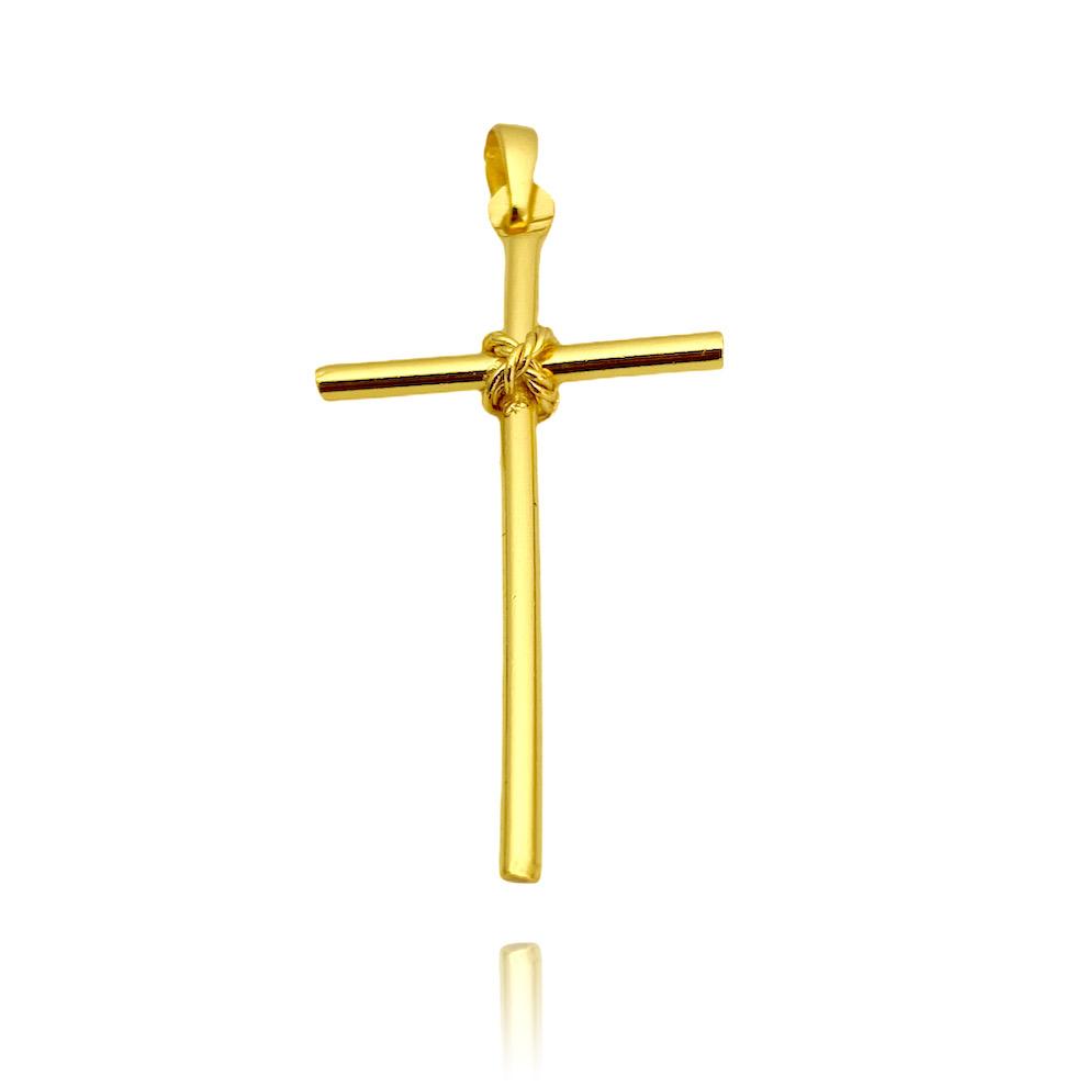 Pingente Crucifixo Trançado 3 (2,4cm X 4cm) (Banho Ouro 24k)