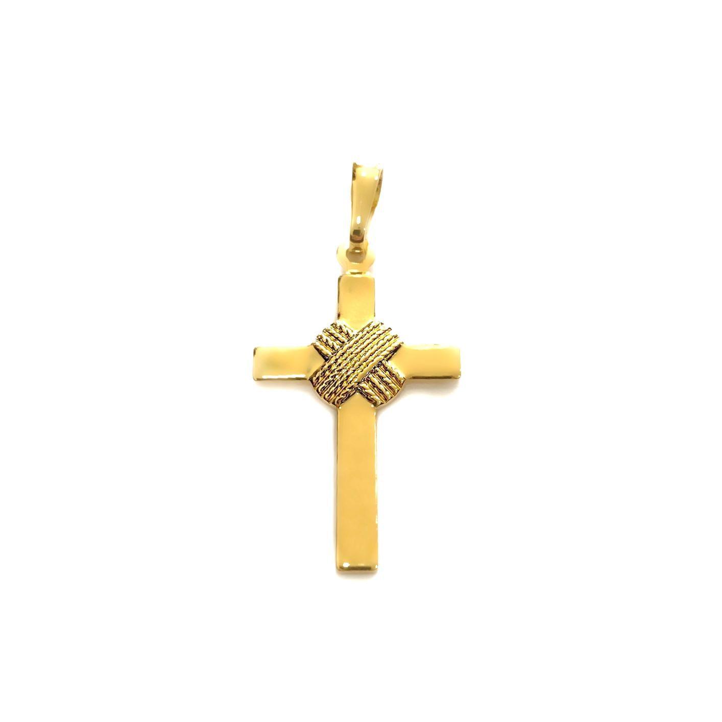 Pingente Crucifixo Trançado 2,8cm X 1,6cm (Banho Ouro 24k)