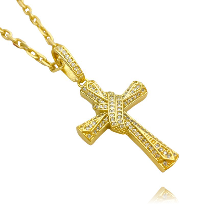 Pingente Crucifixo Trançado Cravejado (4,5cmX3cm) (9,5g) (Banho Ouro 24k)
