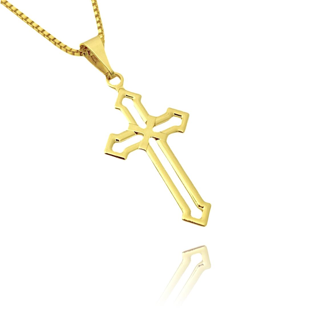 Pingente Crucifixo Vazado (2,8cmX1,5cm) (Banho Ouro 24k)