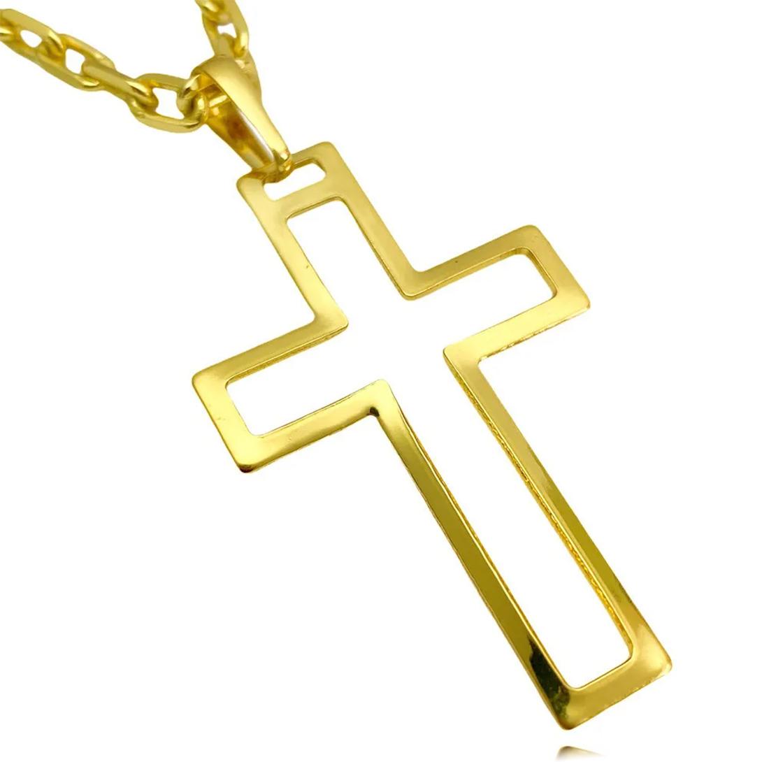 Pingente Crucifixo Vazado 2,8cm x 4,5cm (Banho Ouro 24k)