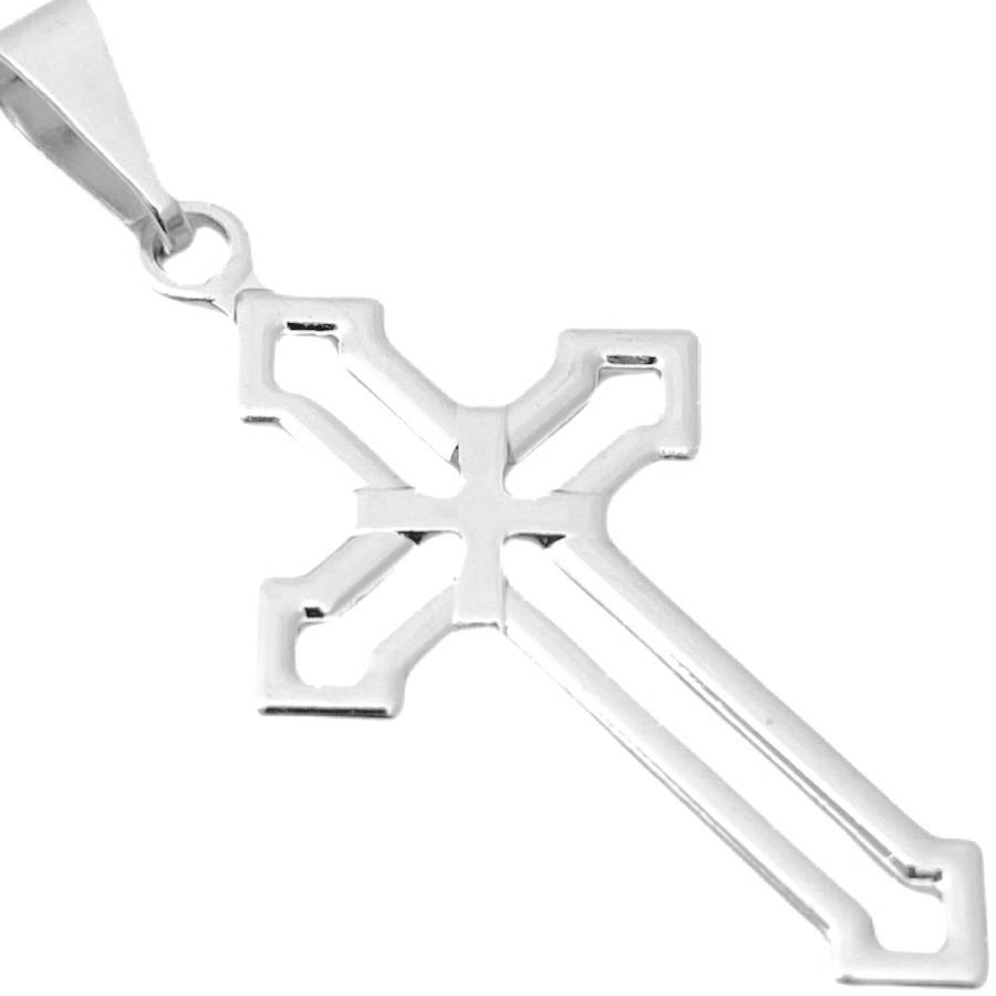Pingente Crucifixo Vazado (2,8cmX1,5cm) (Banho Prata 925)