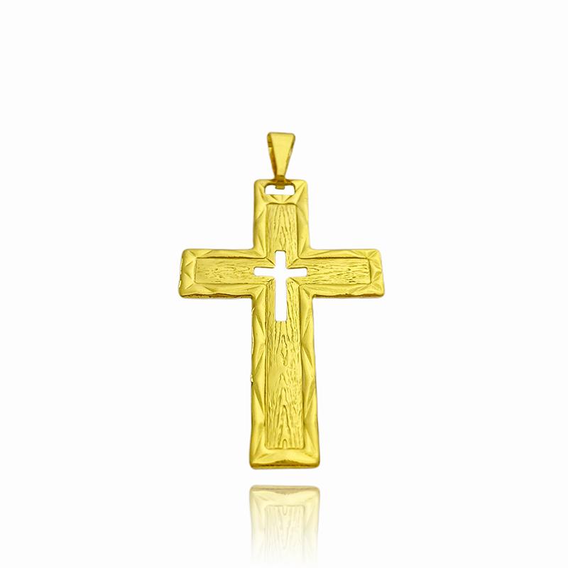 Pingente Crucifixo Vazado com Textura (4,7cmX3cm) (Banho Ouro 24k)