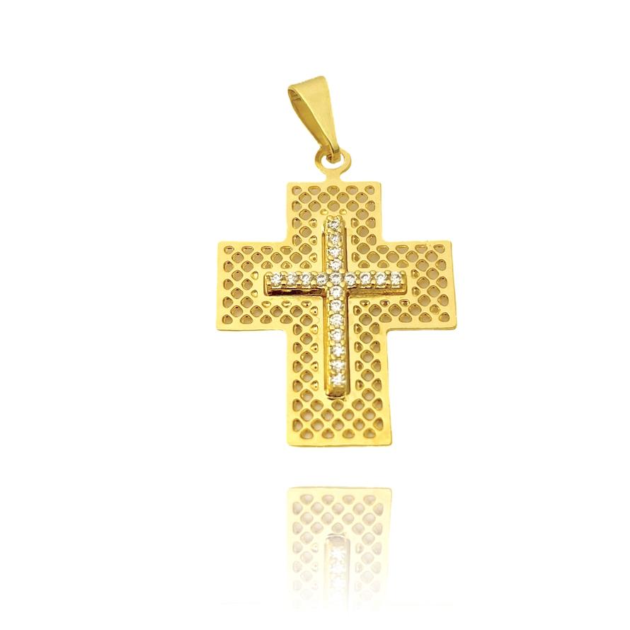 Pingente Crucifixo Vazado Cravejado em Zircônia (2,8cmX2cm) (Banho Ouro 24k)